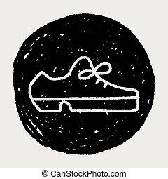 couro, doodle, sapato