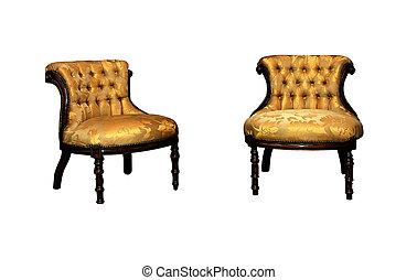 couro, elegante, camurça, amarela, sofá