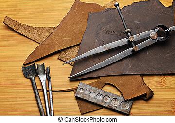 couro, equipamento, arte
