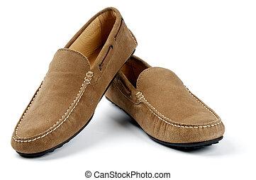 couro, homens, camurça, sapatos