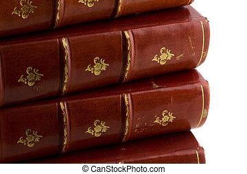 couro, livros, antigas, pilha, vermelho