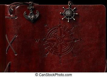couro, marrom, capa livro
