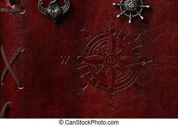 couro, marrom, capa livro, closeup