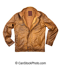 couro, marrom, casaco