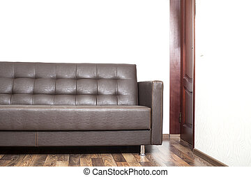 couro, marrom, sala, sofá