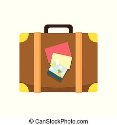 couro, marrom, viajante, ilustração, mala