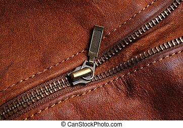 couro, marrom, zipper, casaco