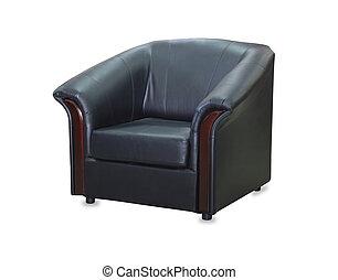 couro, modernos, isolado, experiência preta, cadeira, branca