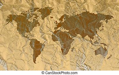 couro, mundo, gravado, mapa