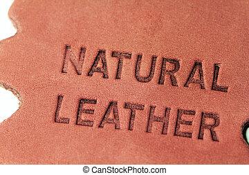 couro, natural, etiqueta
