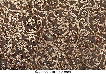 couro, padrão floral, fundo