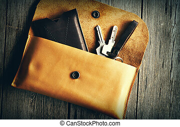 couro, produto, feito à mão