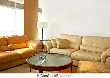 couro, sala de estar