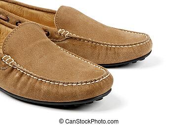 couro, sapatos homens, camurça, detalhes