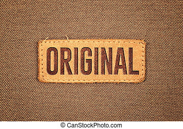 couro, tag, original, etiqueta