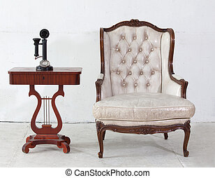 couro, telefone, sofá, antiga