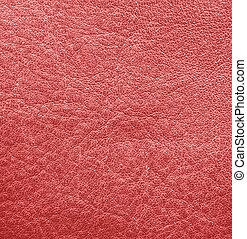 couro, texture., fundo, vermelho