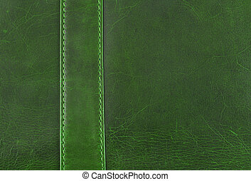 couro, verde, textura, costura