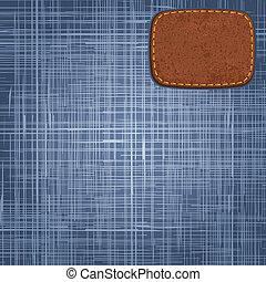 couro, vetorial, calças brim, label., textura