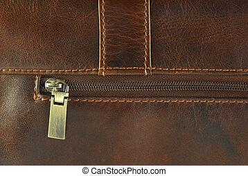couro, zipper, gasto, textura