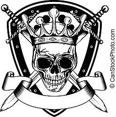 couronne, épées, planche, crâne, traversé