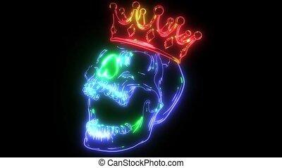 couronne, animation, laser, prince, crâne
