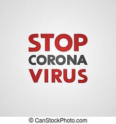 couronne, arrêt, virus, message