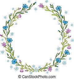 couronne, cornflowers, campanules, floral, composition, chamomiles