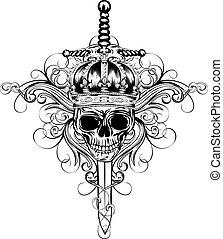 couronne, crâne, épée