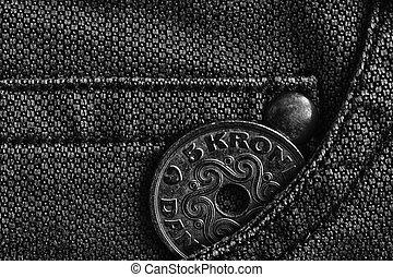 couronne, danemark, jean, (crown), porté, dénomination, poche, jean, 5, monochrome, monnaie, coup