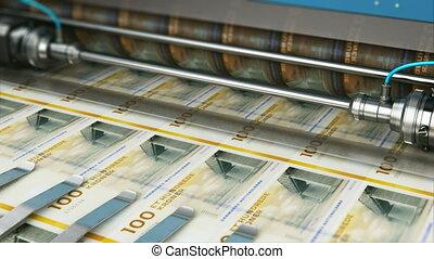 couronne, danois, dk, argent, billets banque, impression, 100