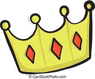 couronne, dessin animé, icône