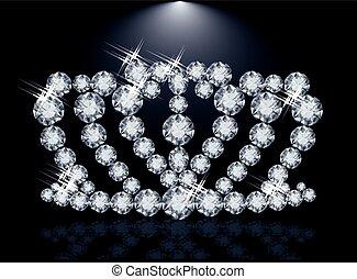 couronne, diamant, princesse, vecteur