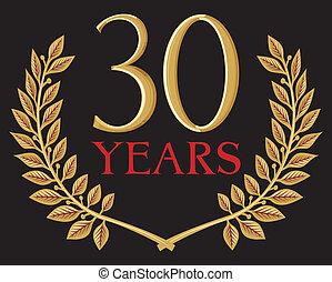 couronne, doré, 30, laurier, années