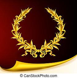 couronne, doré, eps10, riche