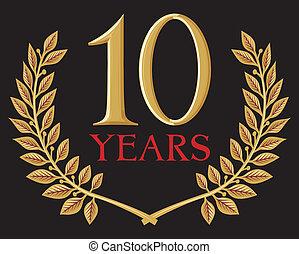 couronne, doré, laurier, années, 10