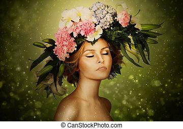couronne, fée, femme, fleur, élégance