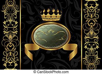 couronne, fond, orné