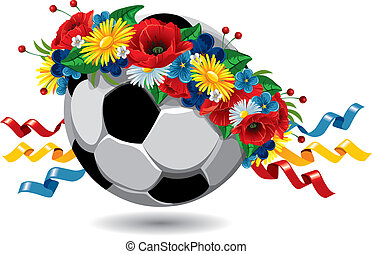 couronne, football, fleurs, balle
