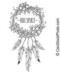 couronne, indien, décoratif, croquis, boho