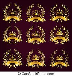 couronne, laurier, étiquettes, luxe, or