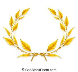 couronne, laurier, concevoir élément