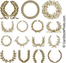 couronne, laurier, ensemble, bronze, vecteur