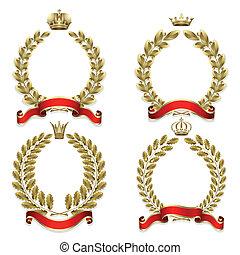 couronne, laurier, ensemble, chêne, or