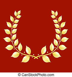 couronne laurier, fond, or, rouges