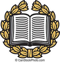 couronne, laurier, livre, ouvert