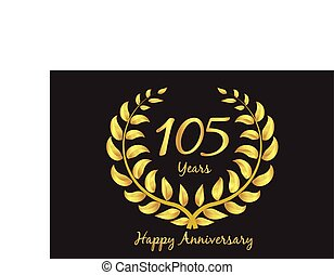 couronne, laurier, or, anniversaire, happy105th