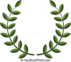 couronne, laurier, symbole, vecteur