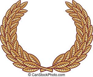 couronne, laurier, vecteur