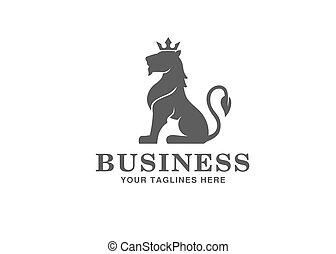 couronne, logo, héraldique, lion, séance